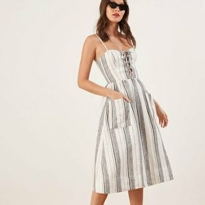 Reformation Ellen Linen Striped Midi Dress